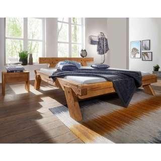 Massivholz Balkenbett mit Nachtkonsolen aus Kiefer Eiche Honigfarben (3-teilig)