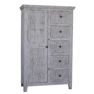 Esszimmerschrank in Grey Wash lackiert massiv