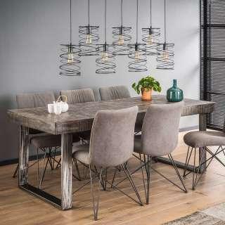 Designer Esstisch aus Mangobaum Massivholz und Metall 200 cm breit