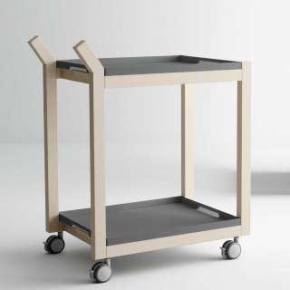 Dinett mit abnehmbaren Tabletts massiver gebleichter Buche und Metall in Anthrazit