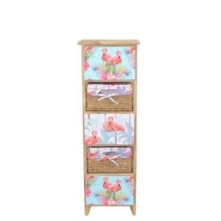 Holzkommode im Flamingo Design 30 cm breit
