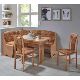 Esszimmer Sitzecke in Terracotta abstrakt gemustert Buchefarben (4-teilig)