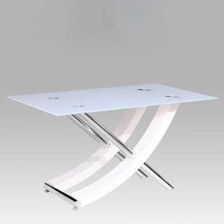 Esszimmer Tisch in Weiß und Chromfarben Weißglasplatte