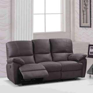 Dreisitzer Sofa mit Relaxfunktion Microfaser und Metall