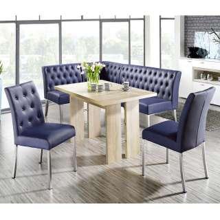 Eckbankgruppe in Dunkelblau Kunstleder ausziehbarem Tisch in Sonoma Eiche (4-teilig)