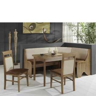Esszimmer Sitzecke in Noce und Beige Microfaser ausziehbarem Tisch (4-teilig)