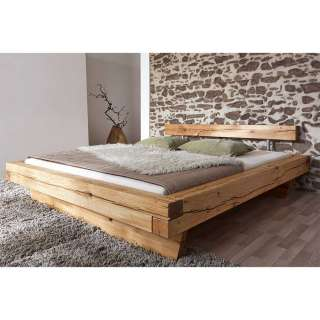 Balken Massivholzbett aus Wildeiche geölt rustikalen Landhausstil