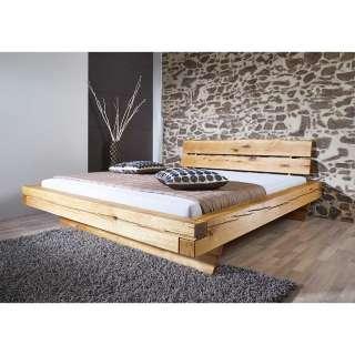 Balkenbett aus Wildeiche Massivholz rustikalen Landhaus Design