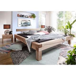 Balkenbett aus Wildeiche Massivholz zwei Nachtkommoden (3-teilig)