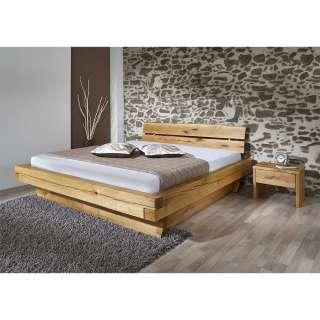 Massivholzbett mit zwei Nachtkommoden geölt (3-teilig)