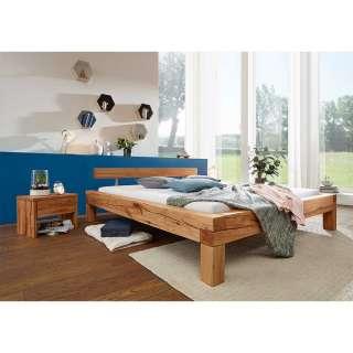 Doppelbett aus Wildbuche Massivholz Landhausstil (3-teilig)