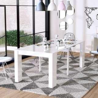 Esszimmertisch in Hochglanz Weiß ausziehbar
