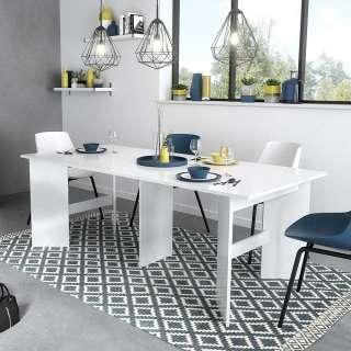 Ausziehbarer Tisch in Weiß Hochglanz modern