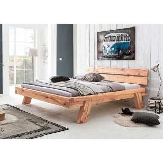 Massivholz Balkenbett aus Wildbuche geölt modern