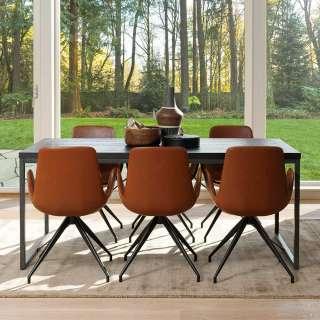 Esszimmergarnitur aus Kiefer Massivholz in Schwarz Cognac Braun Kunstleder (7-teilig)