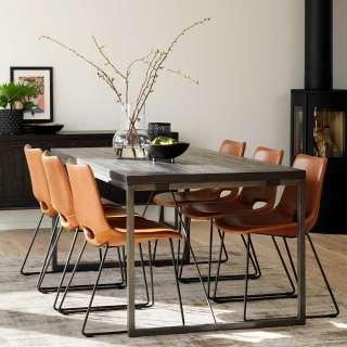 Esszimmergarnitur in Cognac Braun und Grau Loft Design (7-teilig)
