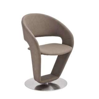 Design Stuhl Set aus Kunstleder in Taupe drehbar (2er Set)