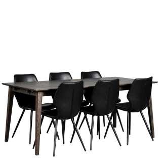 Esszimmereinrichtung in Eiche dunkel und Schwarz Retro Stil (7-teilig)