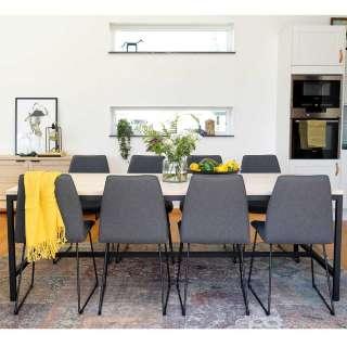 Tischgruppe aus Massivholz, Stahl und Filz White Wash, Grau und Schwarz (9-teilig)