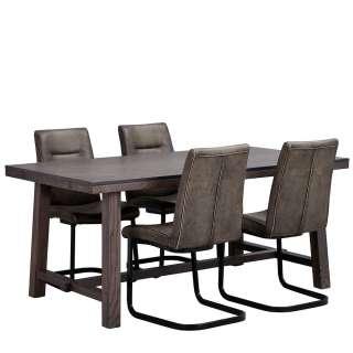 Tischgruppe in Eiche dunkel, Grau und Schwarz modern (5-teilig)