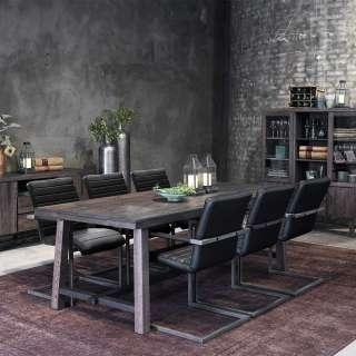 Tischgruppe in Eiche dunkel, Grau und Schwarz modern (7-teilig)