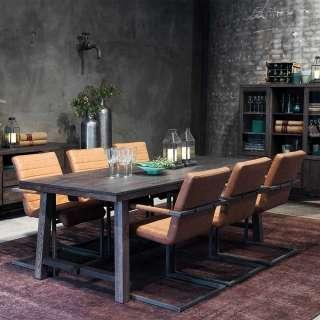 Sitzgruppe aus Eiche Massivholz, Stahl Kunstleder (7-teilig)