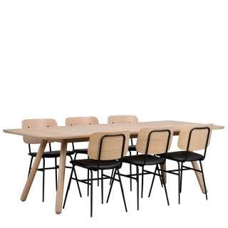 Esszimmer Sitzgruppe in Holz White Wash und Schwarz Retrostil (7-teilig)