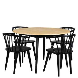 Sitzgruppe in Eichefarben und Schwarz Retro Stil (5-teilig)
