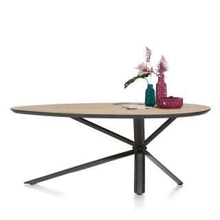 Design Esstisch mit ovaler Tischplatte Eiche furniert