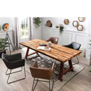 Esszimmersitzgruppe aus Eiche Massivholz und Stahl Armlehnenstühlen (5-teilig)