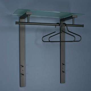 Flur Hängegarderobe aus Stahl in Schwarz Glas Hutablage