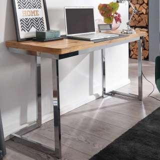 Schreibtisch in Eichefarben und Chrom Tischplatte in Trapezform