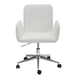 Schreibtischsessel in Weiß und Chrom Kunstlederbezug