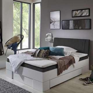 Schubkastenbett 35 cm Einstiegshöhe gepolstertes Kopfteil