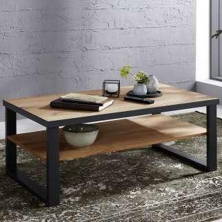 Wohnzimmer Tisch in Eichefarben und Dunkelgrau Ablage