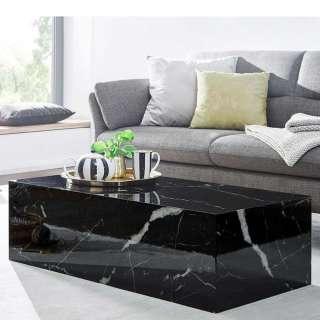 Wohnzimmer Tisch in Schwarz Hellgrau Marmor Optik Hochglanz lackiert