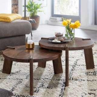 Wohnzimmer Tische in Mangobaumholz Braun Dreifußgestell (zweiteilig)